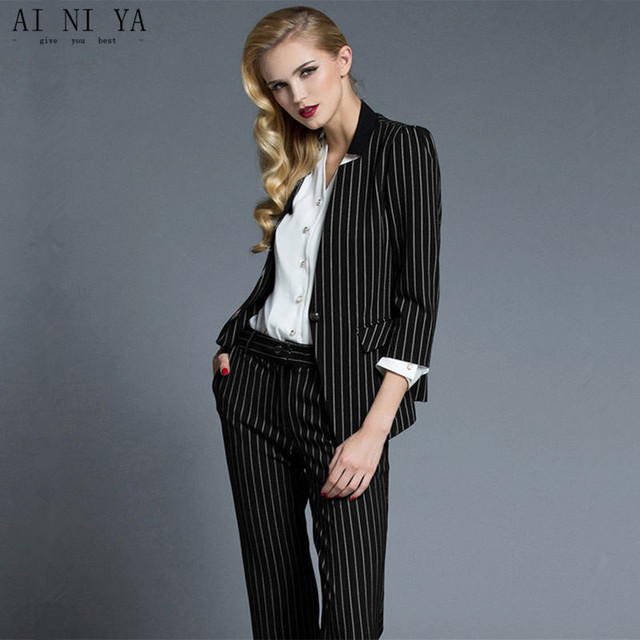 Women Pant Suits Striped Suit Fashionable Western Style Of