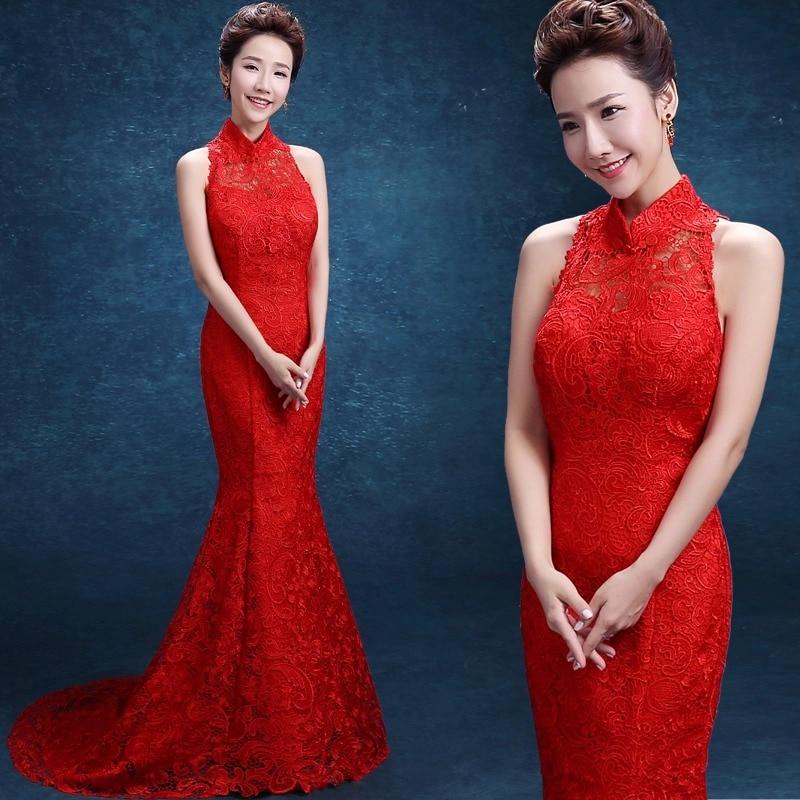 dentelle rouge traînant sans manches sirène moderne cheongsam robes - Vêtements nationaux - Photo 1