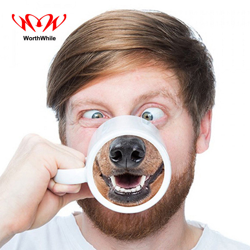 WorthWhile Dog Face Nose Magic Cup Coffee Tea Novelty Cute Fawn Mugs Outdoor Camping Travel Picnic for Dog Lover Birthday Gift