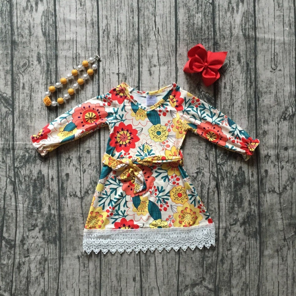 new fallwinter baby girls clothes children mustard floral lace belt dress cotton button ruffle boutique outfits match accessory