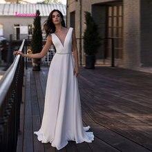 LEIYINXIANG Beading 2019 Bride Dress Wedding Vestido De Noiva Backless Natural Sexy A-line Sashes Luxury V-Neck Elegant
