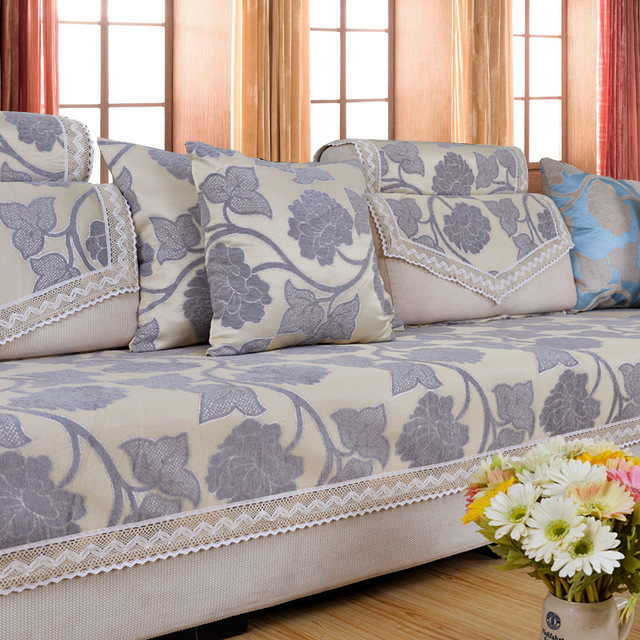 Chenille Couch Covers Flocked Jacquard Fabric Sofa Cap Floral Canape