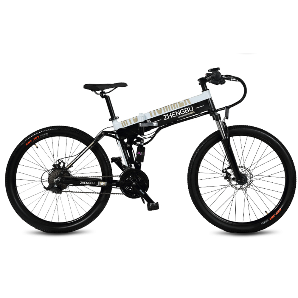 27 Speeds, 26″, Folding Electric Bicycle, 48V/10A, 240W, Aluminum Alloy Frame & Rim, Full Suspension, E Bike, Mountain Bike.