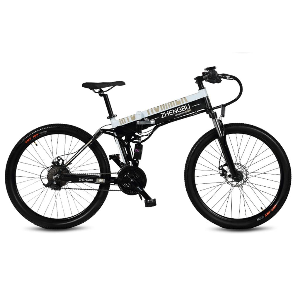 "27 Speeds, 26"", Folding Electric Bicycle, 48V/10A, 240W, Aluminum Alloy Frame & Rim, Full Suspension, E Bike, Mountain Bike."