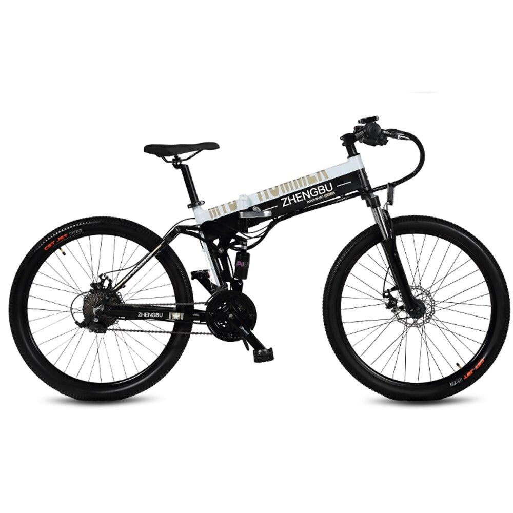 """27 vitesses, 26 """", vélo électrique pliant, 48 V/10A, 240 W, cadre et jante en alliage d'aluminium, Suspension complète, vélo E, VTT."""
