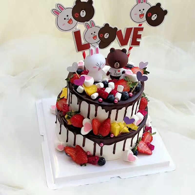 Juguetes Para Niños Oso Conejo Muñeca Cupcake Toppers Pastel Decoración Adultos 50 Cumpleaños Pastel Decoración Conejo Juguete Pastel Topper