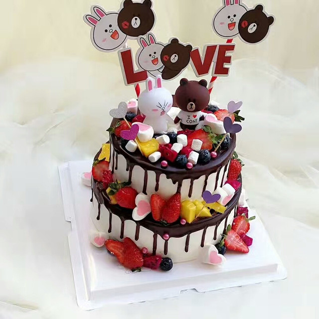 Children Toys Bear Rabbit Doll Cupcake Toppers Cake Decorating Adult 50th Birthday Decoration Toy Topper