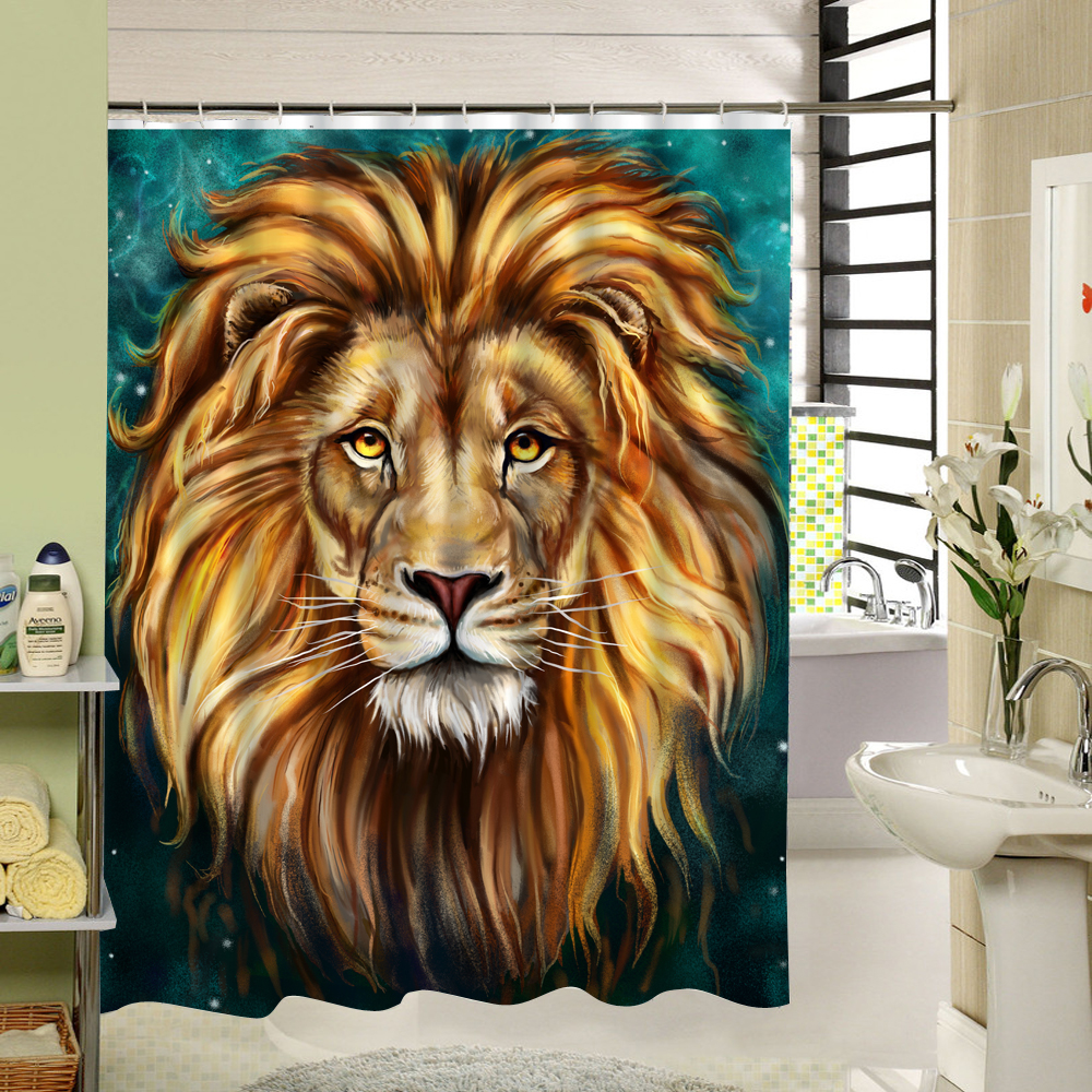Cool shower curtain 3d animal tiger print fabric washable cloth liner cartoom pattern fo ...