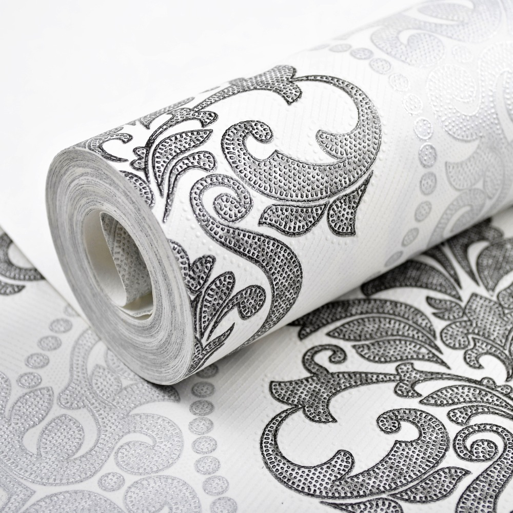 Victorian Black Silver White Textured Damask Wallpaper Roll Modern Vintage Glitter Wall Paper For Bedroom Home Decor  beibehang wall coverings mural wall paper roll bedroom sofa off white textured feature europe vintage glitter damask wallpaper