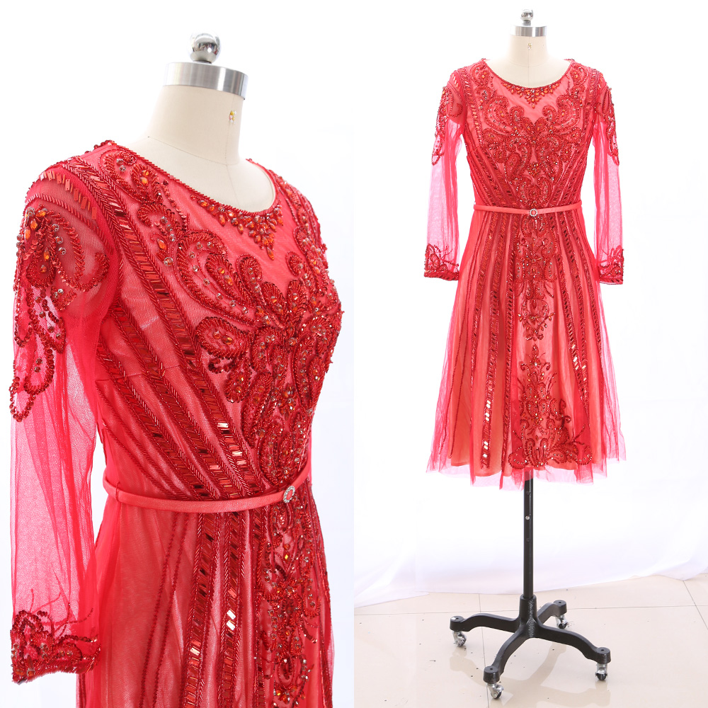 MACloth Red Short Scoop Neck Knee-Length Midi Crystal Tulle   Prom     Dresses     Dress   M 265581 Clearance