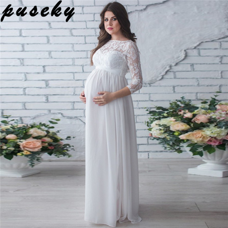 Puseky Maternity Clothing Dress Pregnant Woman Party Holiday Dress Lady Lace Long Clothes Photo Shooting Dress Maxi Party Dreses lace insert maxi party prom dress