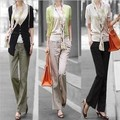Female Spring Plus Size Casual Solid Elastic Waist Straight Flax Capris Breathable Loose Straight Pants Regular Full Length