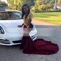 Borgonha velvet prom dress 2017 manga comprida o pescoço real amostra Sheer Longo Ouro Até O Chão Rendas Sereia de Baile Africano vestidos