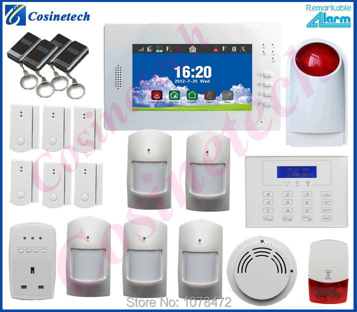 Customized Smart home security FSK 868MHZ GSM PSTN alarm system with smoke sensor,smart socket,LCD keyboard,strobe siren