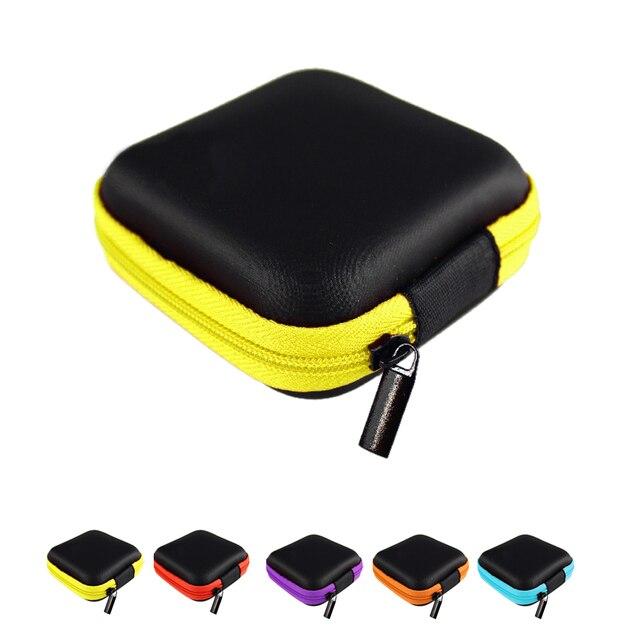 Hot Mini Zipper Duro Caso De Fone de ouvido Fone de Ouvido Cabo USB Organizador Saco De Armazenamento De Proteção de Couro PU, caixa de Fones de Ouvido Portátil Bolsa