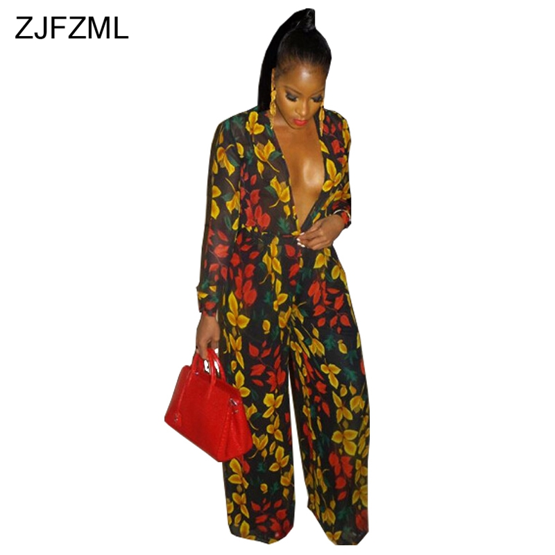ZJFZML Leaves Print Sexy Loose   Jumpsuit   Casual V-Neck Long Sleeve Overall For Women Floor-Length Party Wide Leg Romper Sashes