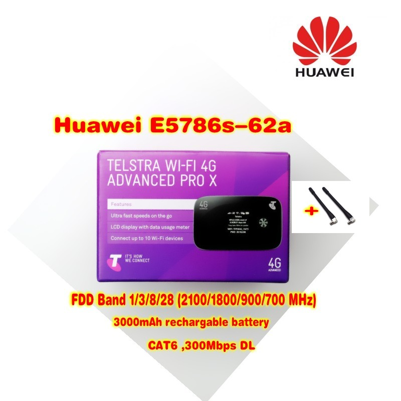 Unlocked HUAWEI E5786 E5786s-62a with 2pcs Antenna 4G LTE Advanced CAT6 300Mbps 4G Pocket WiFi Router b593 4ghz lte sma router antenna white