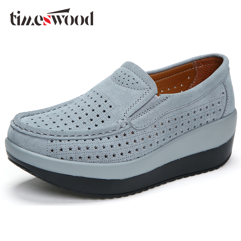 Cut Out Soft Thick Sole Shoes Breathable Platform Boat Loafers Summer Ladies Elevator Footwear Spring Women Working Shoe 4 Color