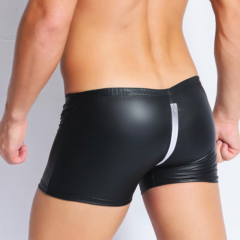 Sexy COCK Ring Plus Size Zipper Open Crotch Boxers PVC Leather Stage U Convex Pouch Gay Wear Jockstrap Erotic Lingerie F27