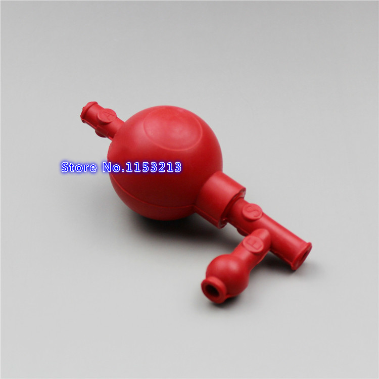 Three-way Red rubber suck ear ball Quantitative pipetting Safe suction bulb with glass scale straw Tee ball