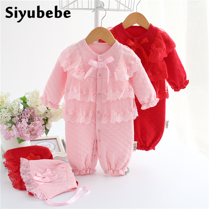 Baby Lace Rompers 2 Pieces Set 2016 Winter Thick Infant Princess Formal Dress Bebe Clothing Coveralls Newborn Baby Girl Clothes