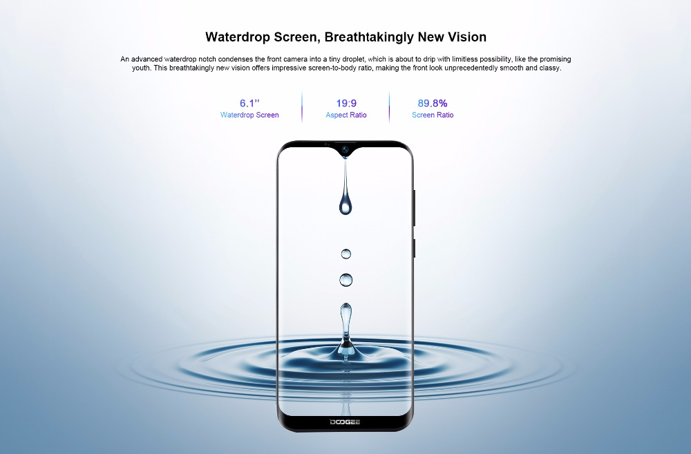 DOOGEE Y8c 6.1 inch 19:9 Waterdrop LTPS Screen Smartphone Face Unlocking 16GB ROM 8MP+5MP Mobile Phone 3400mAh Android 8.1 WCDMA-in Cellphones from Cellphones & Telecommunications    3