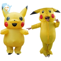 Pikachu Costume Pokemon Cosplay Inflatable Halloween Pikachu Onesie Kids Fancy Mascot Dress For Boys Girls
