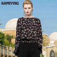 Kamiying Новый сезон: весна–лето женские блузки и топы для девочек, детские комплекты с плиссированными рукавами цветочные рубашки, блузы, шифо