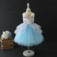 Kids Dresses For Girls Vestido Infantil Beading Embroidery Unicorn Dress Kids Summer Princess Dress Cute Robe