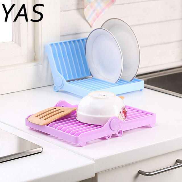 YAS Foldable Dish Plate Drying Rack Organizer Drainer Plastic Storage Holder Kitchen HXP001 & YAS Foldable Dish Plate Drying Rack Organizer Drainer Plastic ...