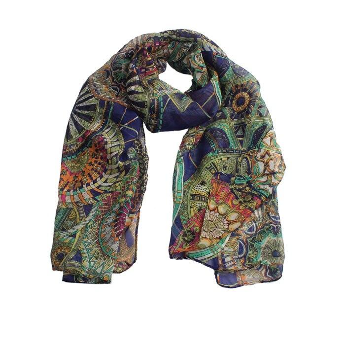 AASS Fashion Women Scarf Chiffon Printed Silk Long Soft Scarf Shawl ScarfMain Colour:Navy