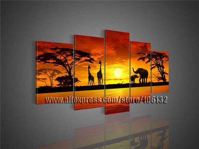 Framed 5 Panel Large Africa Painting Landscape Canvas Art Abstract African  Wall Decor A0760