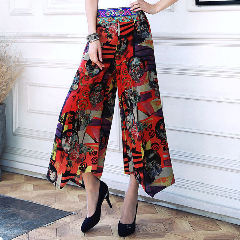 New Summer   Wide     Leg     Pants   Broeken Fashion Woman Cotton Linen High Waist   Pants   Female Fashion Loose Skirt Trousers Women Clothers