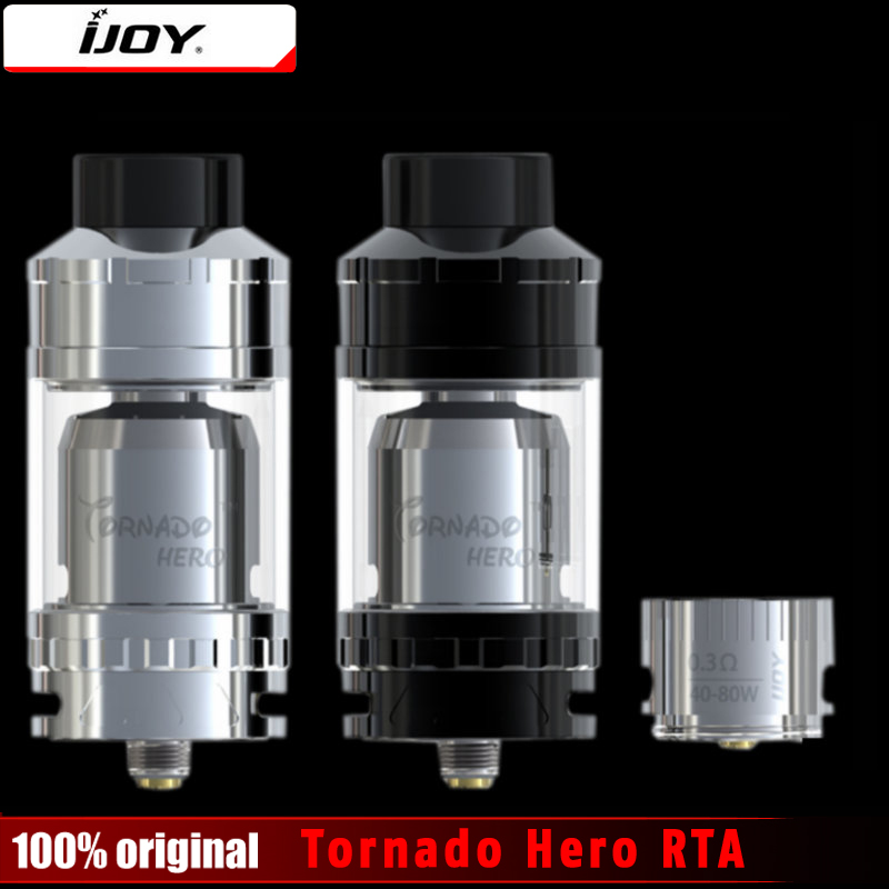 Original IJOY Tornado Hero RTA & Sub Ohm Tank 5.2ml Kennedy-style airflow w/ TRC-coil 0.3ohm Huge Vapor Rebuildable Atomizer original rebuildable tank atomizer fumytech windforce rta