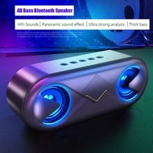 Caixa de som portátil bluetooth sem fio, alto falante, com led, portátil, boom, coluna de som, subwoofer, com microfone, suporta cartão tf, aux, usb