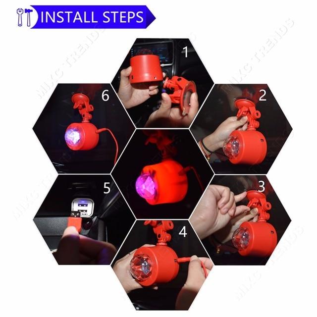 Wireless Remote Music Car Interior DJ Stage Light Mini RGB USB Port Crystal Magic Ball Music KTV Disco Party LED Laser Lights  5
