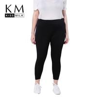 Kissmilk New Plus Size Women Clothing Autumn Black Solid Slim High Waisted Elastic Skinny Pencil Pants Trousers Big Size
