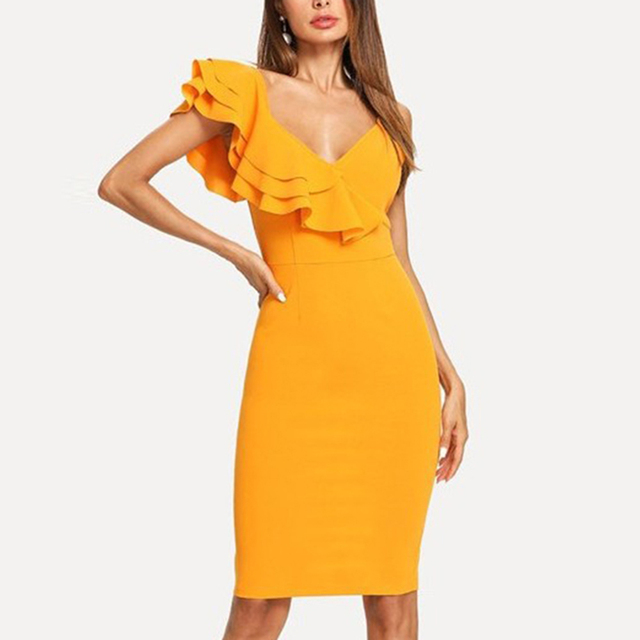 2de242769a72 One Shoulder Skinny Dress Yellow Elegant Sexy Bodycon Dress Women Deep V  Neck Ruffles Sexy Slim Pencil Dress Summer Knee-length