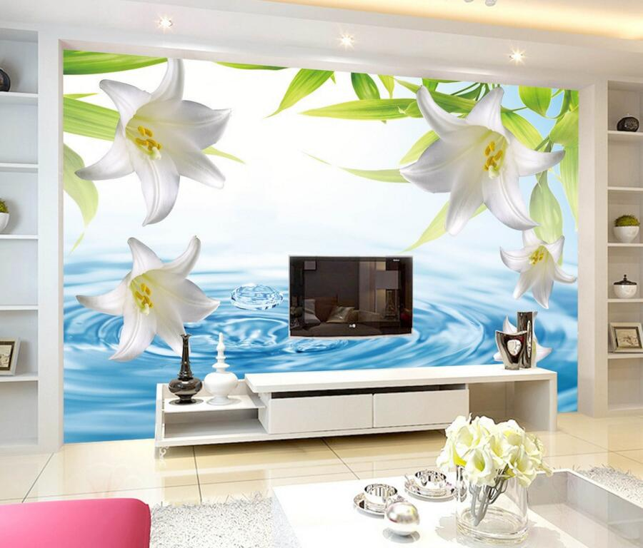 Custom 3D murals,Fresh and simple water lily papel de parede,living room TV wall children bedroom flowers wallpaper