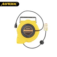 AUTOOL 15m Automotive Electric Power Supply Hose Reel Automatic Retractable Reel Winder Car Workshop Washing Hose Store Tool