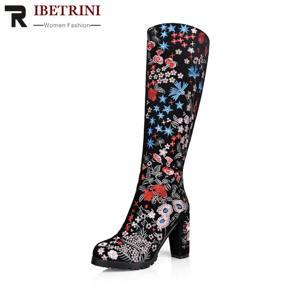 RIBETRINI Designer Ethnic Flower Embossed Square High Heel Round Toe Platform Shoes Woman Winter Party Wedding Knee Boots traditional ethnic flower design linen square shape pillowcase
