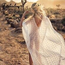Fitshinling גדול גודל תחרה ארוך שמלת בגדי ים ללא משענת שקוף לבן סקסי חוף מקסי שמלות נשים חלוק Boho קיץ Pareos