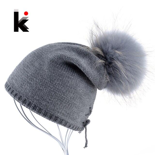 2017 Winter Women's Beanie 100% Raccoon Fur Pompom Ball Knitted Wool Hat Skullies Cap Ladies Knit Hats For Women Beanies