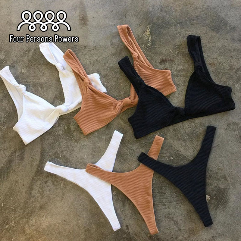 Vier Personen Powers Badeanzug Push up Bikini set Frauen Bademode Sexy Badeanzug Marke Plus größe NK85