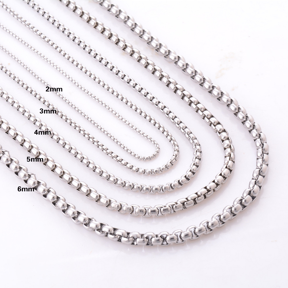 3mm Stainless Steel Box Chain Necklace High Quality Link Men Kalung Wanita Silver Dolphin 316l 004 2 3 4 5 6mm For And Women