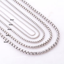 2/3/4/5/6mm Stainless Steel Chain For Men and Women Silver Tone Stainless Steel Necklace Jewelry Wholesale(China)
