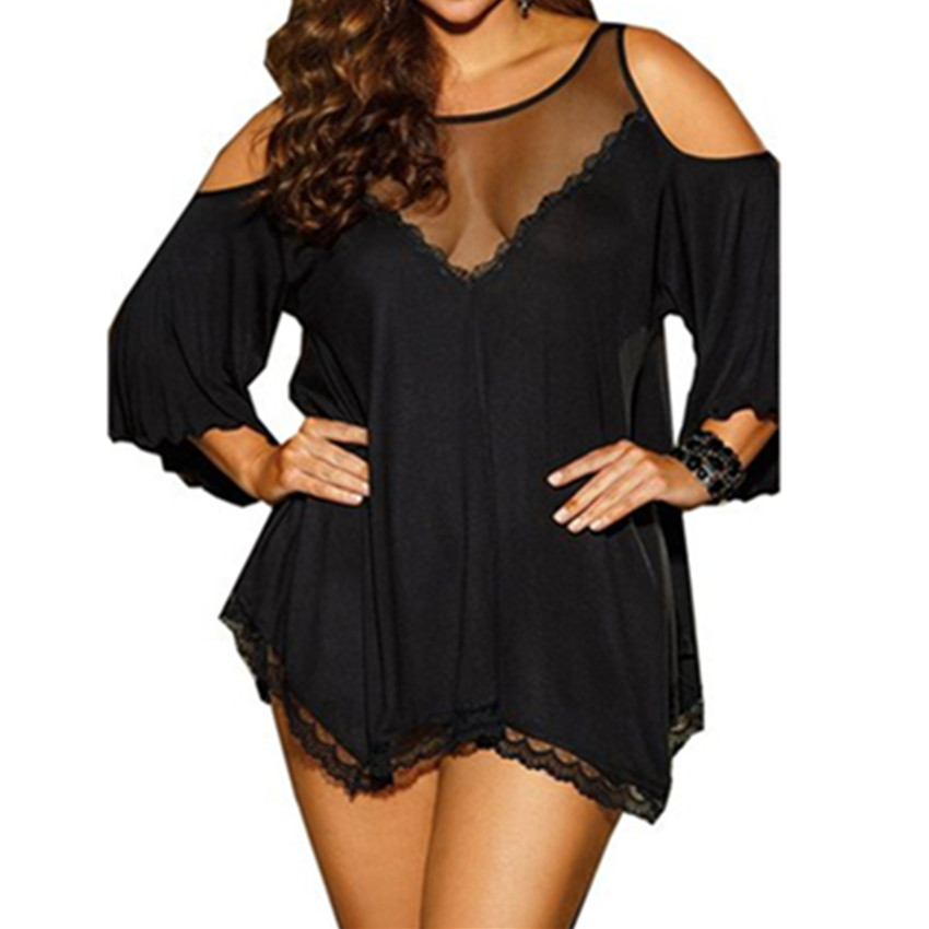 Abbille 2018 Sexy Lingerie Hot Sexy Costumes Off shoulder Plus Size M-4XL Casual Babydolls Solid Lingerie Sexy Babydolls Women