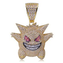 Exquisite Bubble Gengar Pendant Hip Hop Iced Out Bling CZ Crystal Gold Plated Chain with 24 Stainless Rope Necklace