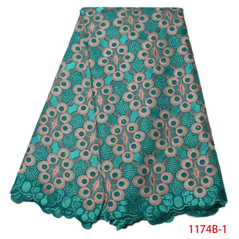 New Arrival African Cotton Lace Fabric High Quality Swiss Voile Lace In Switzerland Green Nigerian Wedding