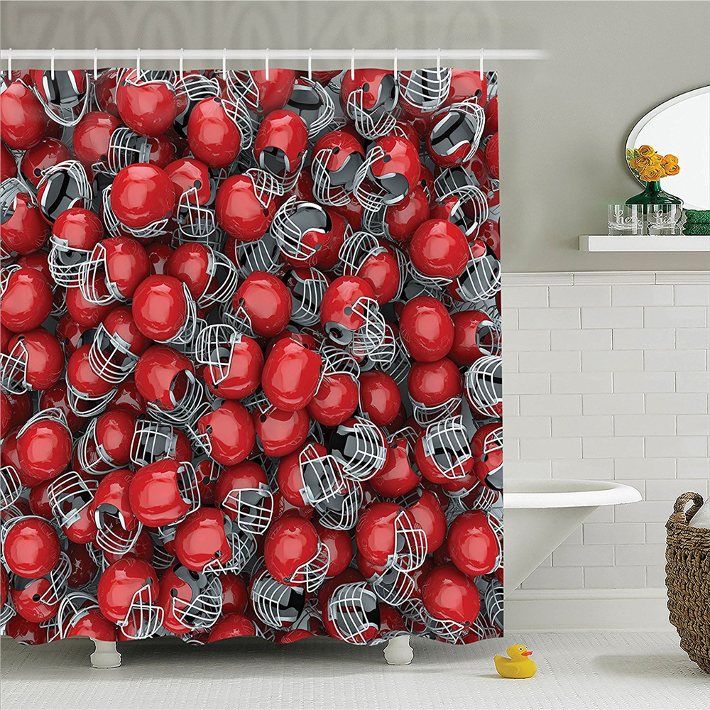 Sports College Football Helmets Headgear Competition Defense Sportsman Image Pattern Polyester Bathroom Shower Curtain Set with